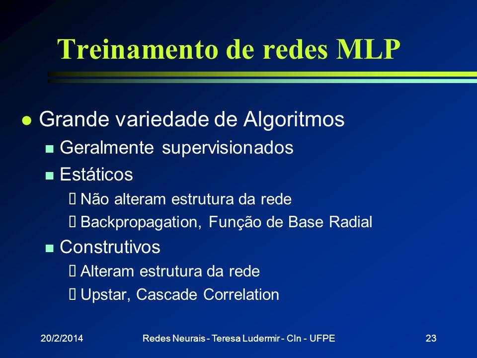 20/2/2014Redes Neurais - Teresa Ludermir - CIn - UFPE22 Rede Multi-Layer Perceptron l Arquitetura de RNA mais utilizada l Possuem uma ou mais camadas