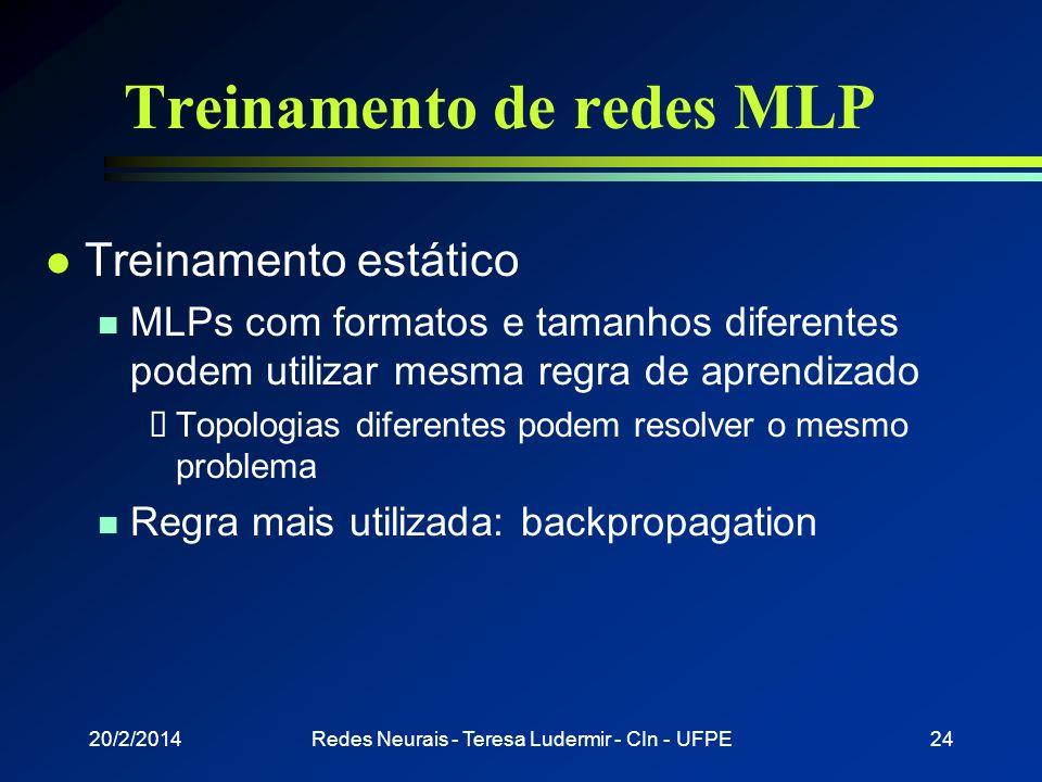20/2/2014Redes Neurais - Teresa Ludermir - CIn - UFPE23 Treinamento de redes MLP l Grande variedade de Algoritmos n Geralmente supervisionados n Estát