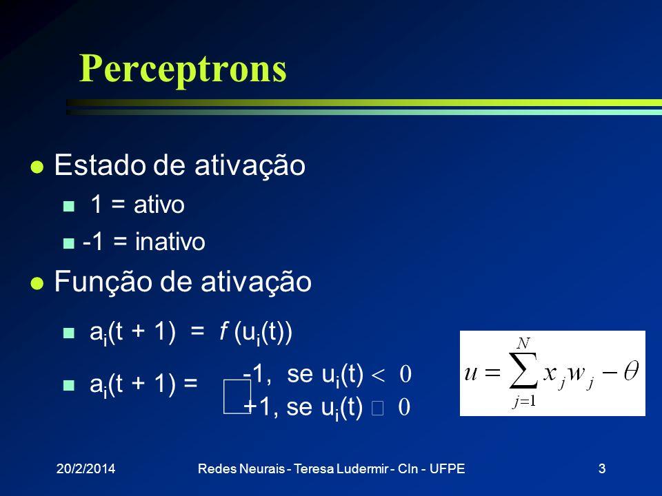 20/2/2014Redes Neurais - Teresa Ludermir - CIn - UFPE2 Perceptrons l Desenvolvido por Rosemblat, 1958 l Rede mais simples para classificação de padrõe