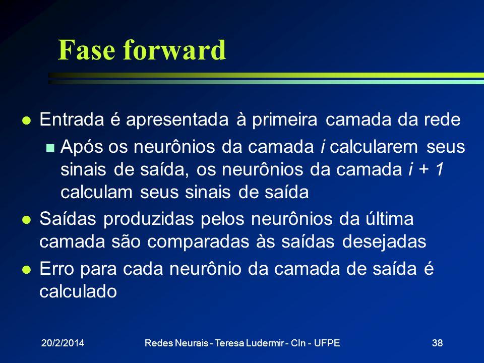 20/2/2014Redes Neurais - Teresa Ludermir - CIn - UFPE37 RNA - Aprendizado camada de entrada camadas intermediárias camada de saída PadrãoPadrão SaídaD