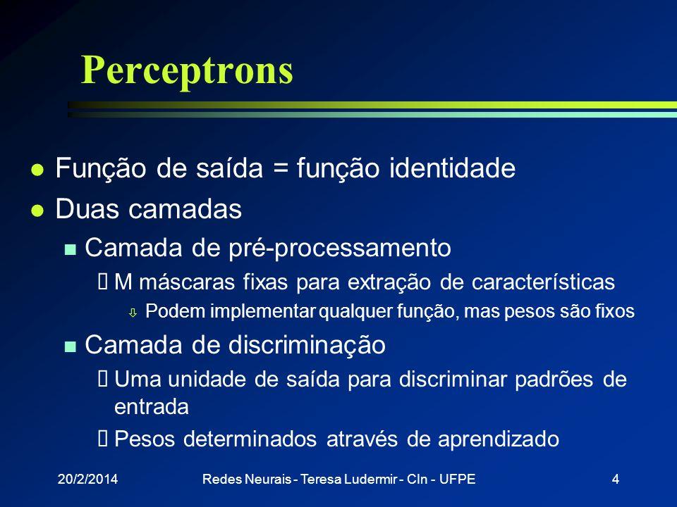 20/2/2014Redes Neurais - Teresa Ludermir - CIn - UFPE3 Perceptrons l Estado de ativação n 1 = ativo n -1 = inativo l Função de ativação n a i (t + 1)