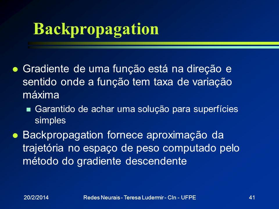 20/2/2014Redes Neurais - Teresa Ludermir - CIn - UFPE40 Backpropagation l Treina redes MLP produzindo representações internas necessárias para nós int