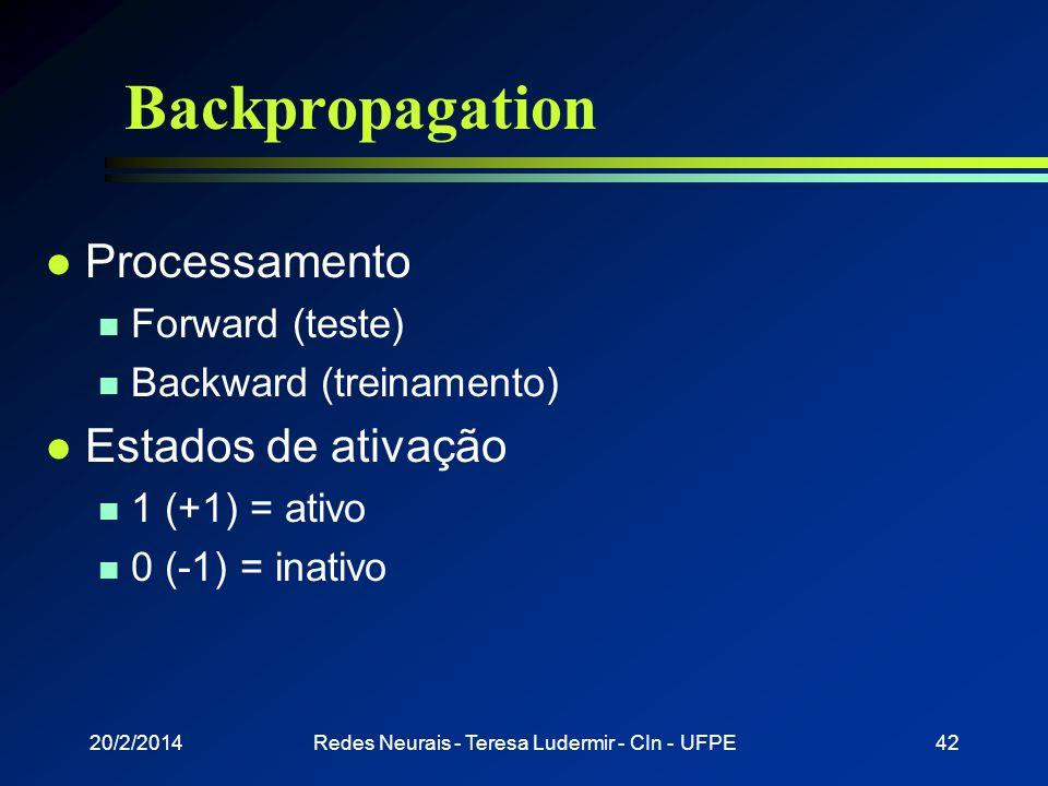 20/2/2014Redes Neurais - Teresa Ludermir - CIn - UFPE41 Backpropagation l Gradiente de uma função está na direção e sentido onde a função tem taxa de
