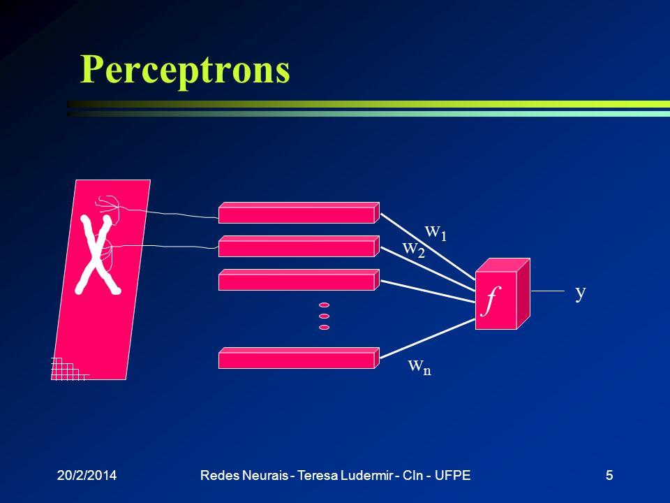 20/2/2014Redes Neurais - Teresa Ludermir - CIn - UFPE4 Perceptrons l Função de saída = função identidade l Duas camadas n Camada de pré-processamento