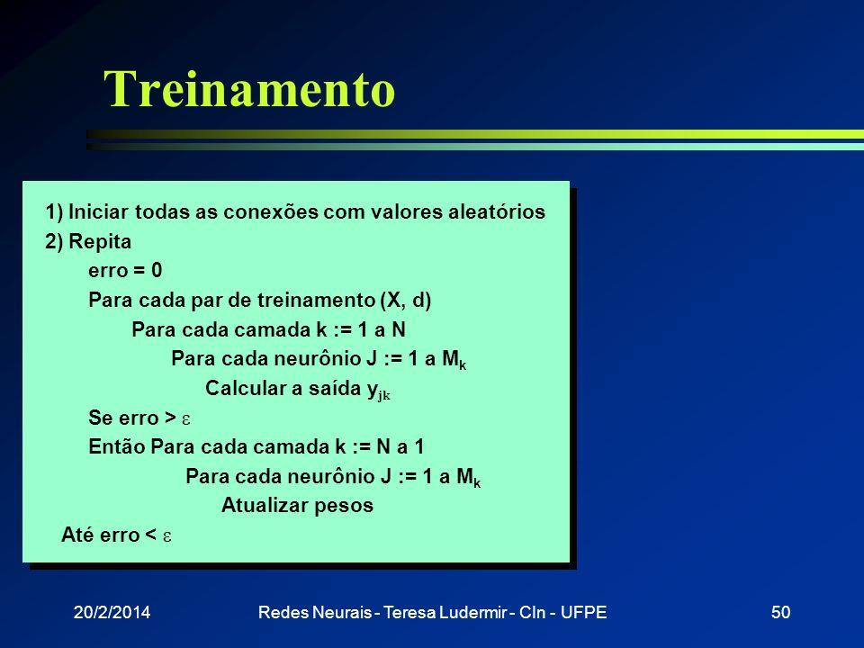 Backpropagation w 1 não é de um nodo de saída: w 1 = 1 x 1 w1w1 1 = ( w ) f (net 1 ) net 1 f x1x1 w Calculado anteriormente