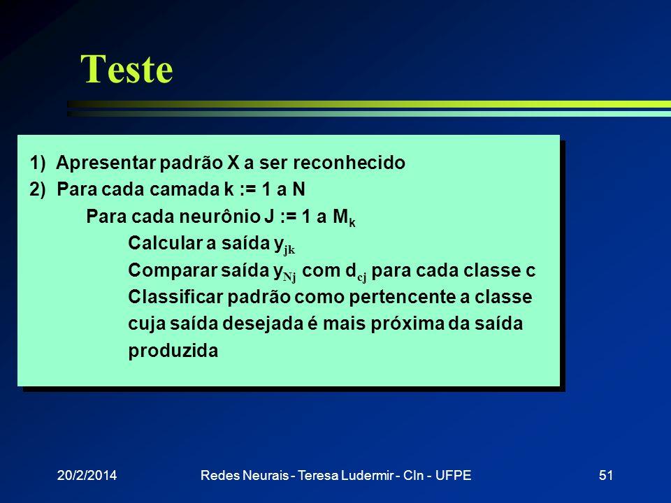 20/2/2014Redes Neurais - Teresa Ludermir - CIn - UFPE50 Treinamento 1) Iniciar todas as conexões com valores aleatórios 2) Repita erro = 0 Para cada p