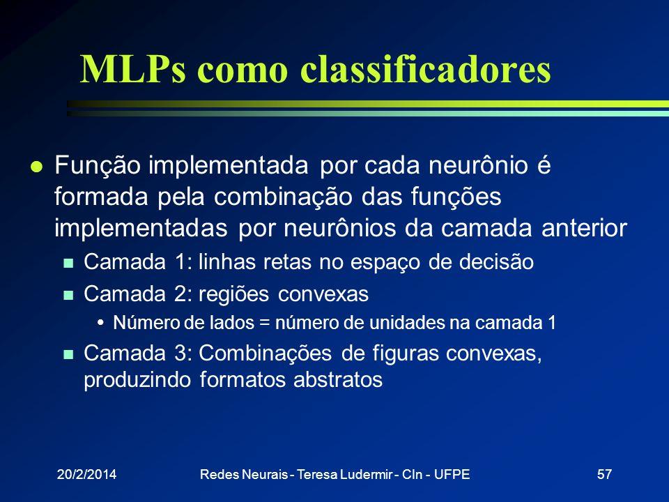 20/2/2014Redes Neurais - Teresa Ludermir - CIn - UFPE56 Problemas 8.8 0.8 0.1 -2.0 4.39.2 -1.8 -4.5 5.3 Rede estável que não funciona Mínimo local Oco