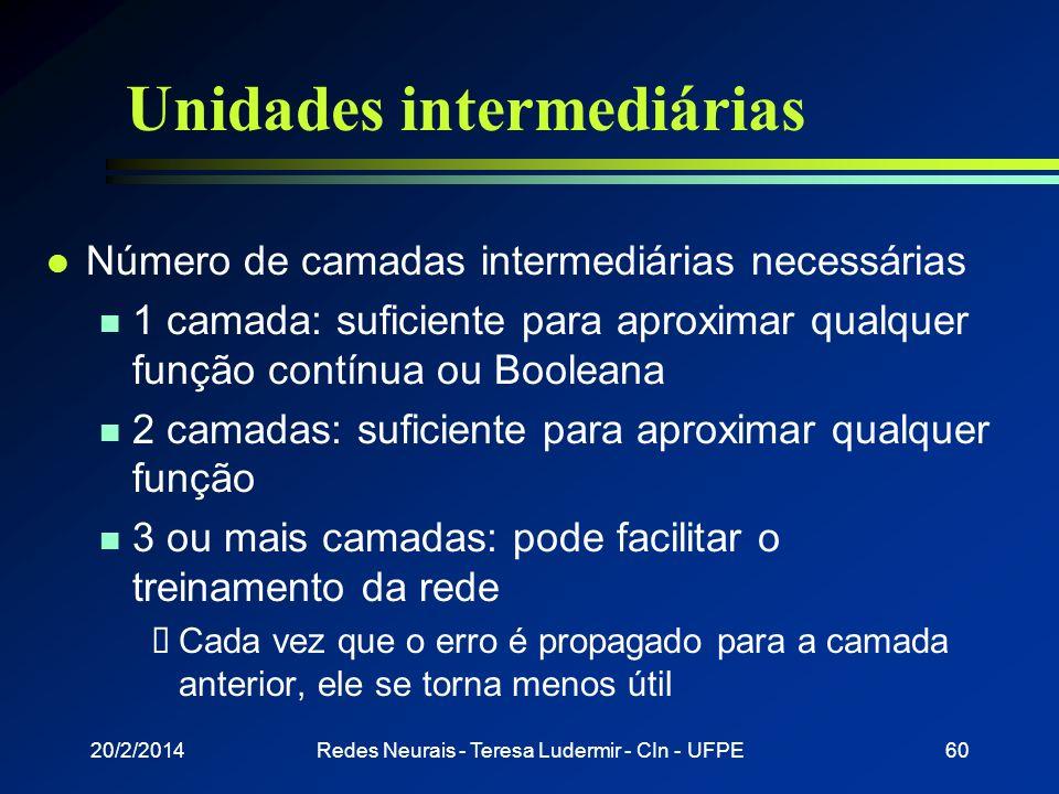20/2/2014Redes Neurais - Teresa Ludermir - CIn - UFPE59 Combinações de regiões convexas
