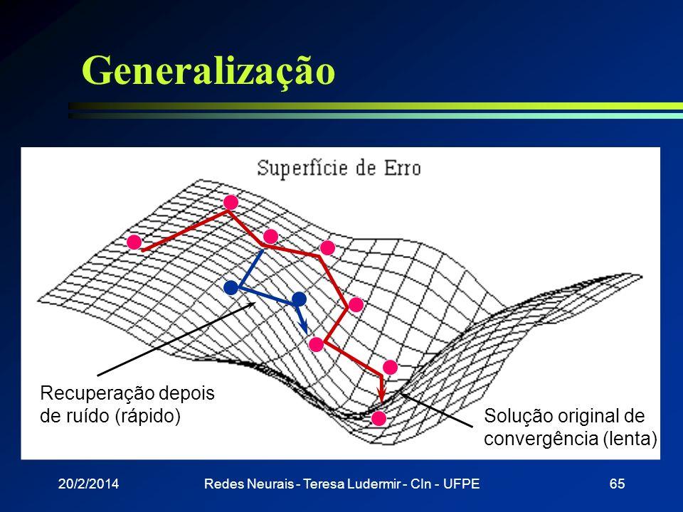20/2/2014Redes Neurais - Teresa Ludermir - CIn - UFPE64 Generalização l Classificação correta de padrões não utilizados no treinamento ou com ruído l