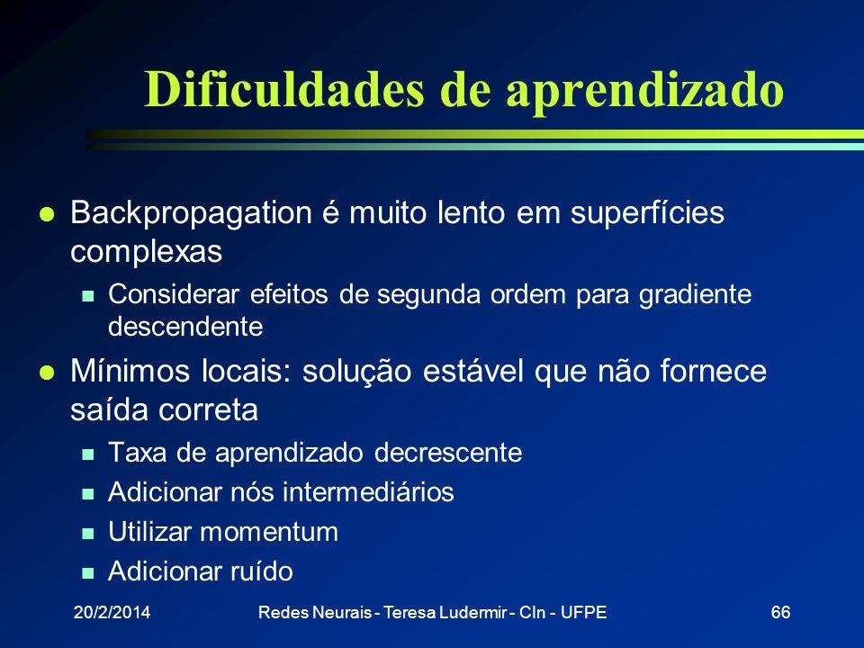 20/2/2014Redes Neurais - Teresa Ludermir - CIn - UFPE65 Generalização Solução original de convergência (lenta) Recuperação depois de ruído (rápido)