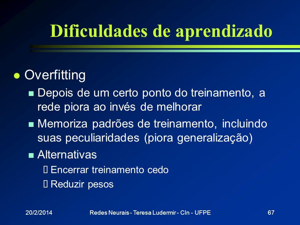20/2/2014Redes Neurais - Teresa Ludermir - CIn - UFPE66 Dificuldades de aprendizado l Backpropagation é muito lento em superfícies complexas n Conside