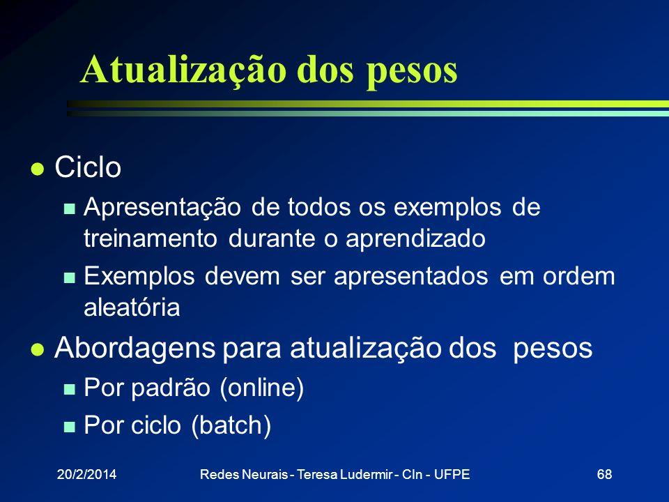 20/2/2014Redes Neurais - Teresa Ludermir - CIn - UFPE67 Dificuldades de aprendizado l Overfitting n Depois de um certo ponto do treinamento, a rede pi