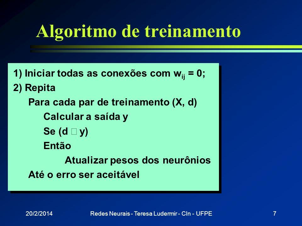 20/2/2014Redes Neurais - Teresa Ludermir - CIn - UFPE6 Perceptrons l Treinamento n Supervisionado n Correção de erro w ij = x i (d j - y j ) (d y) w i