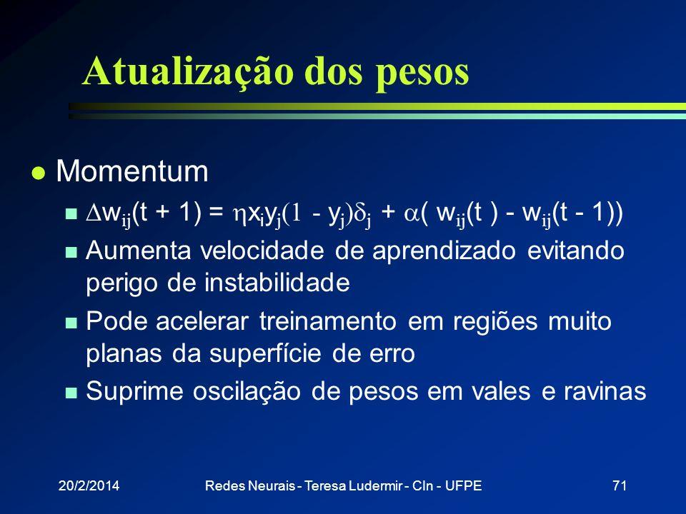 20/2/2014Redes Neurais - Teresa Ludermir - CIn - UFPE70 Atualização dos pesos l Por ciclo n Pesos atualizados depois que todos os padrões de treinamen