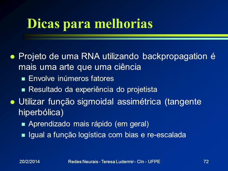 20/2/2014Redes Neurais - Teresa Ludermir - CIn - UFPE71 Atualização dos pesos l Momentum w ij (t + 1) = x i y j (1 - y j ) j + ( w ij (t ) - w ij (t -