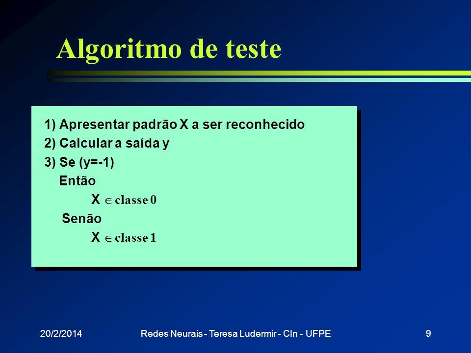 20/2/2014Redes Neurais - Teresa Ludermir - CIn - UFPE8 Treinamento