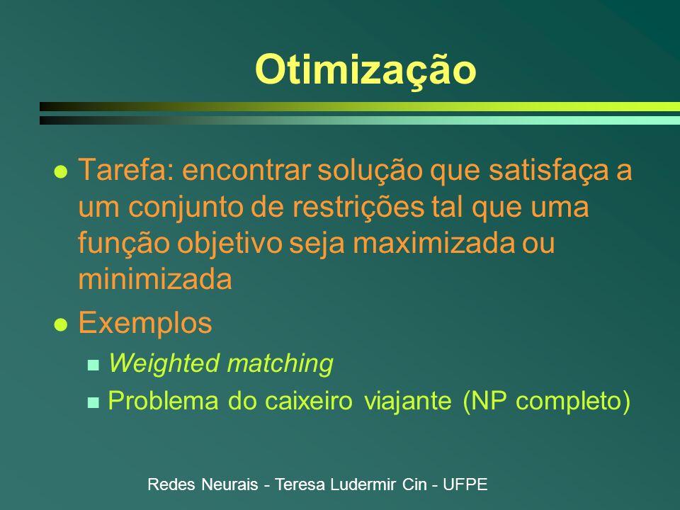 Redes Neurais - Teresa Ludermir Cin - UFPE Otimização l Tarefa: encontrar solução que satisfaça a um conjunto de restrições tal que uma função objetiv