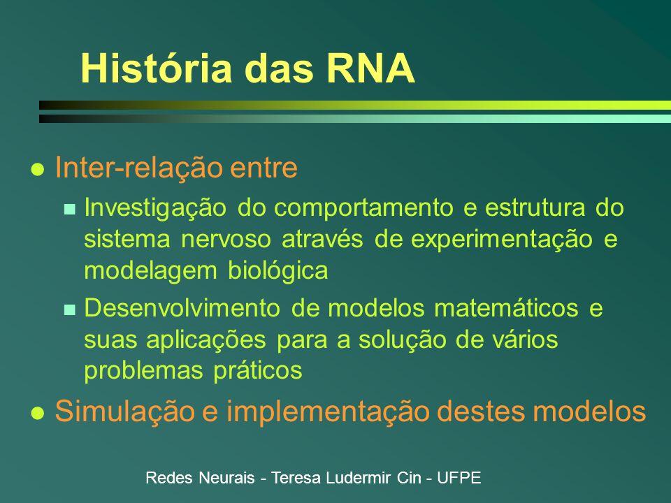 Redes Neurais - Teresa Ludermir Cin - UFPE História das RNA l Inter-relação entre n Investigação do comportamento e estrutura do sistema nervoso atrav
