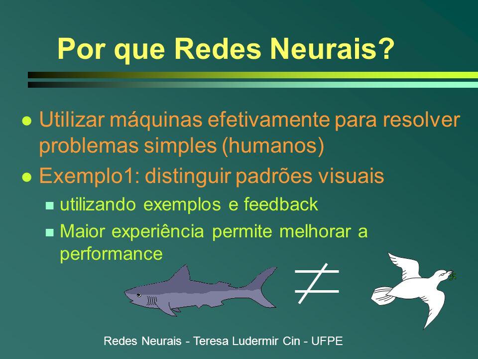 Redes Neurais - Teresa Ludermir Cin - UFPE Por que Redes Neurais? l Utilizar máquinas efetivamente para resolver problemas simples (humanos) l Exemplo