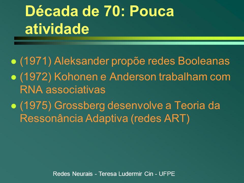 Redes Neurais - Teresa Ludermir Cin - UFPE Década de 70: Pouca atividade l (1971) Aleksander propõe redes Booleanas l (1972) Kohonen e Anderson trabal