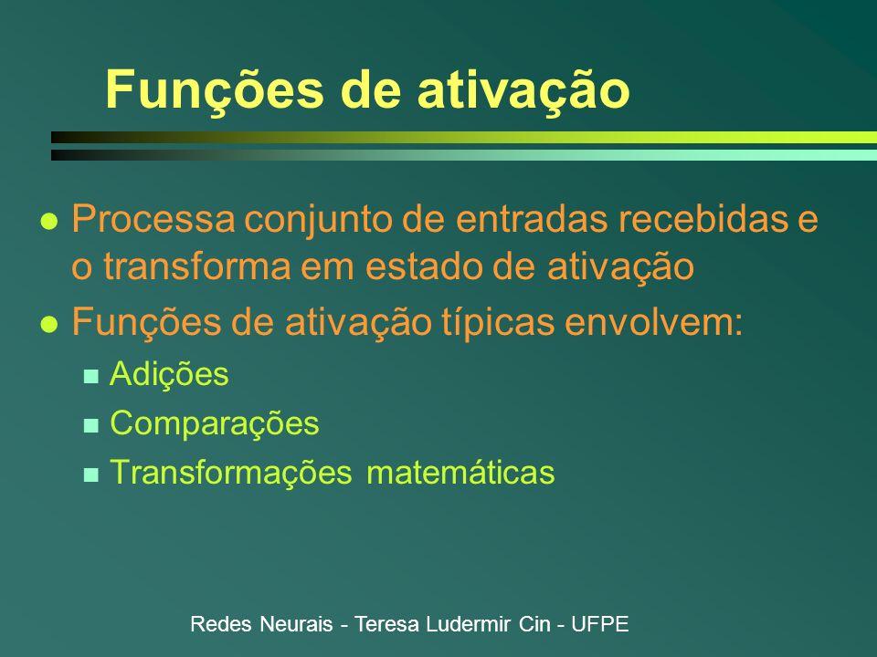 Redes Neurais - Teresa Ludermir Cin - UFPE Funções de ativação l Processa conjunto de entradas recebidas e o transforma em estado de ativação l Funçõe