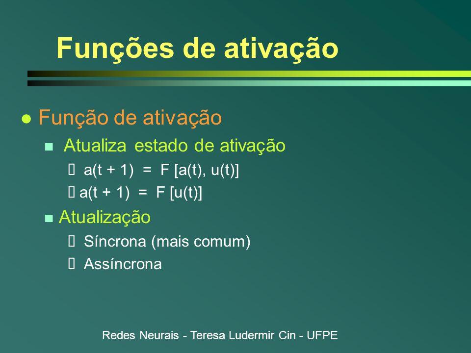 Redes Neurais - Teresa Ludermir Cin - UFPE Funções de ativação l Função de ativação n Atualiza estado de ativação a(t + 1) = F [a(t), u(t)] a(t + 1) =
