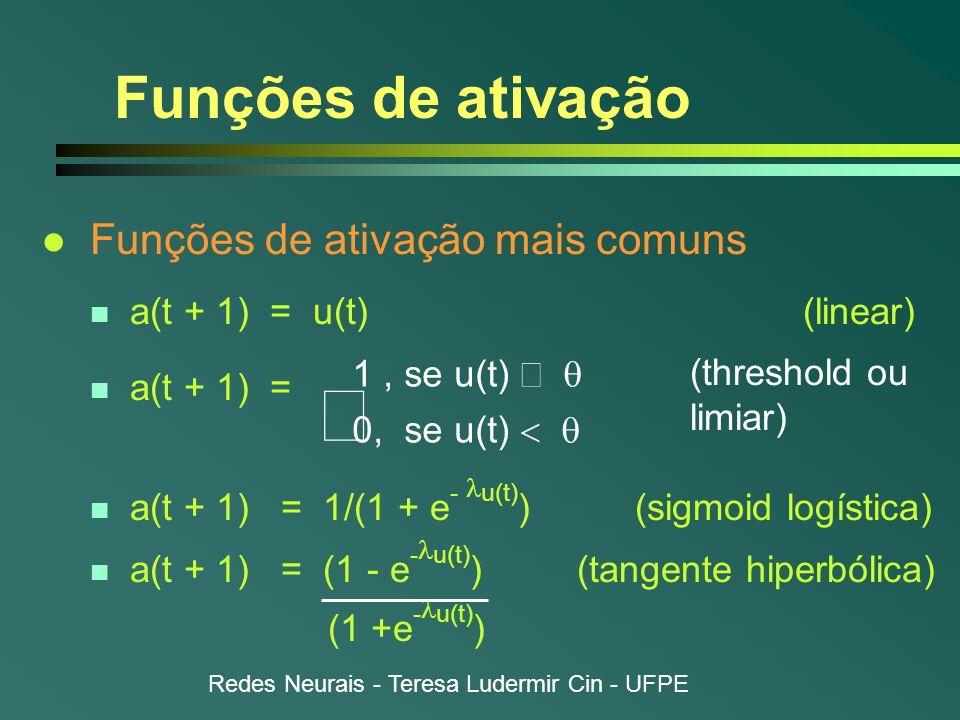 Redes Neurais - Teresa Ludermir Cin - UFPE Funções de ativação l Funções de ativação mais comuns n a(t + 1) = u(t) (linear) n a(t + 1) = a(t + 1) = 1/