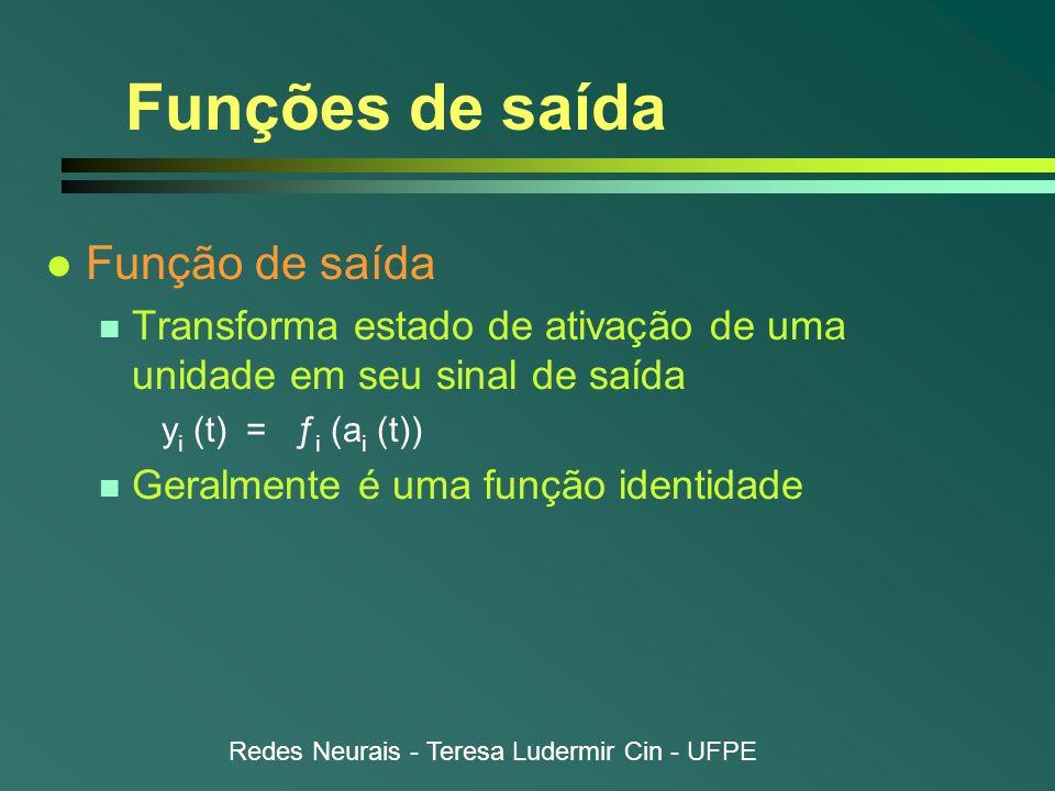 Redes Neurais - Teresa Ludermir Cin - UFPE Funções de saída l Função de saída n Transforma estado de ativação de uma unidade em seu sinal de saída y i