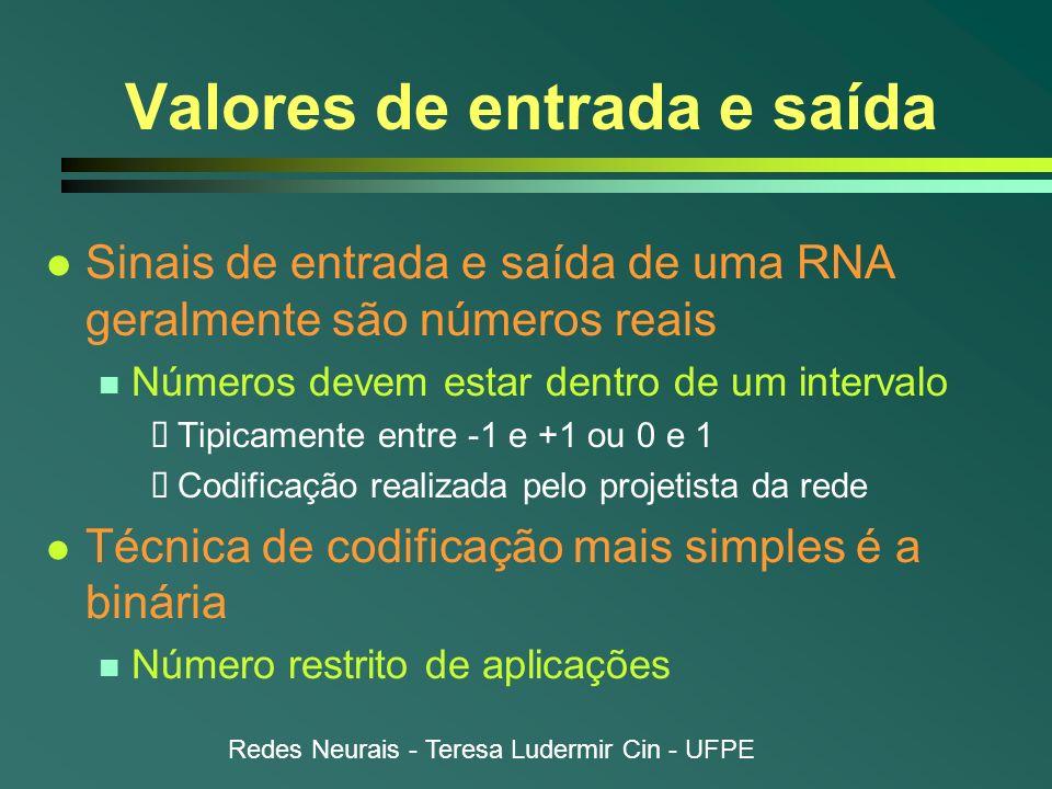 Redes Neurais - Teresa Ludermir Cin - UFPE Valores de entrada e saída l Sinais de entrada e saída de uma RNA geralmente são números reais n Números de