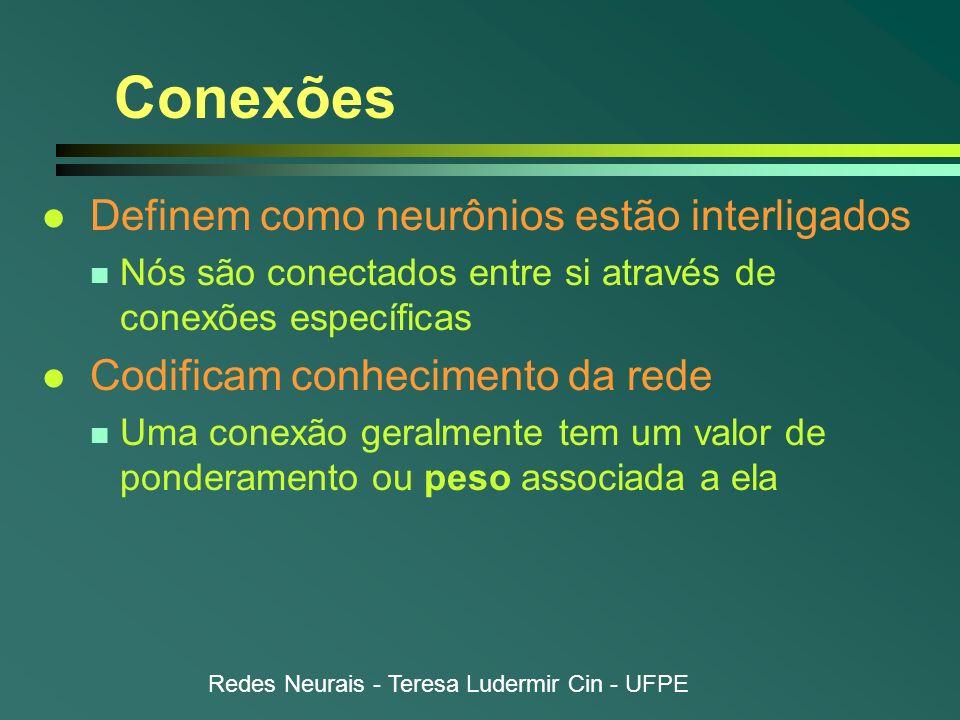 Redes Neurais - Teresa Ludermir Cin - UFPE Conexões l Definem como neurônios estão interligados n Nós são conectados entre si através de conexões espe