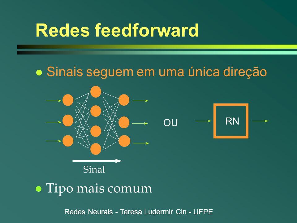 Redes Neurais - Teresa Ludermir Cin - UFPE Redes feedforward l Sinais seguem em uma única direção Sinal OU l Tipo mais comum RN