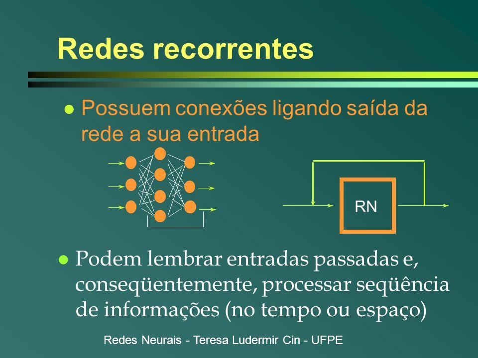 Redes Neurais - Teresa Ludermir Cin - UFPE Redes recorrentes l Possuem conexões ligando saída da rede a sua entrada l Podem lembrar entradas passadas