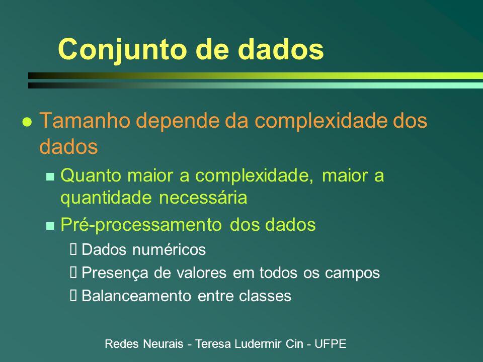 Redes Neurais - Teresa Ludermir Cin - UFPE Conjunto de dados l Tamanho depende da complexidade dos dados n Quanto maior a complexidade, maior a quanti