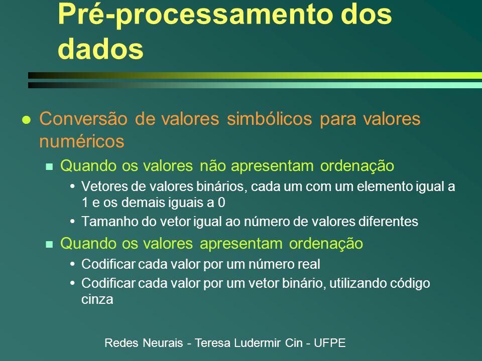 Redes Neurais - Teresa Ludermir Cin - UFPE Pré-processamento dos dados l Conversão de valores simbólicos para valores numéricos n Quando os valores nã