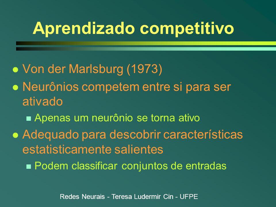 Redes Neurais - Teresa Ludermir Cin - UFPE Aprendizado competitivo l Von der Marlsburg (1973) l Neurônios competem entre si para ser ativado n Apenas