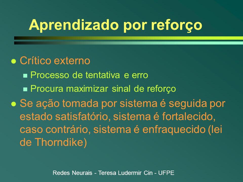 Redes Neurais - Teresa Ludermir Cin - UFPE Aprendizado por reforço l Crítico externo n Processo de tentativa e erro n Procura maximizar sinal de refor
