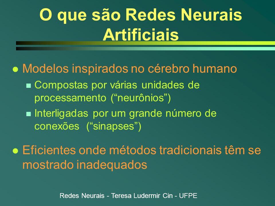 Redes Neurais - Teresa Ludermir Cin - UFPE Controle l Tarefa: gerar entrada de controle para que sistema siga trajetória especificada por modelo de referência n Modelo definido por conjunto de tuplas {x(t), y(t)} l Exemplo n Controle de processos químicos n Controle de robôs