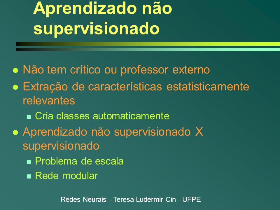 Redes Neurais - Teresa Ludermir Cin - UFPE Aprendizado não supervisionado l Não tem crítico ou professor externo l Extração de características estatis