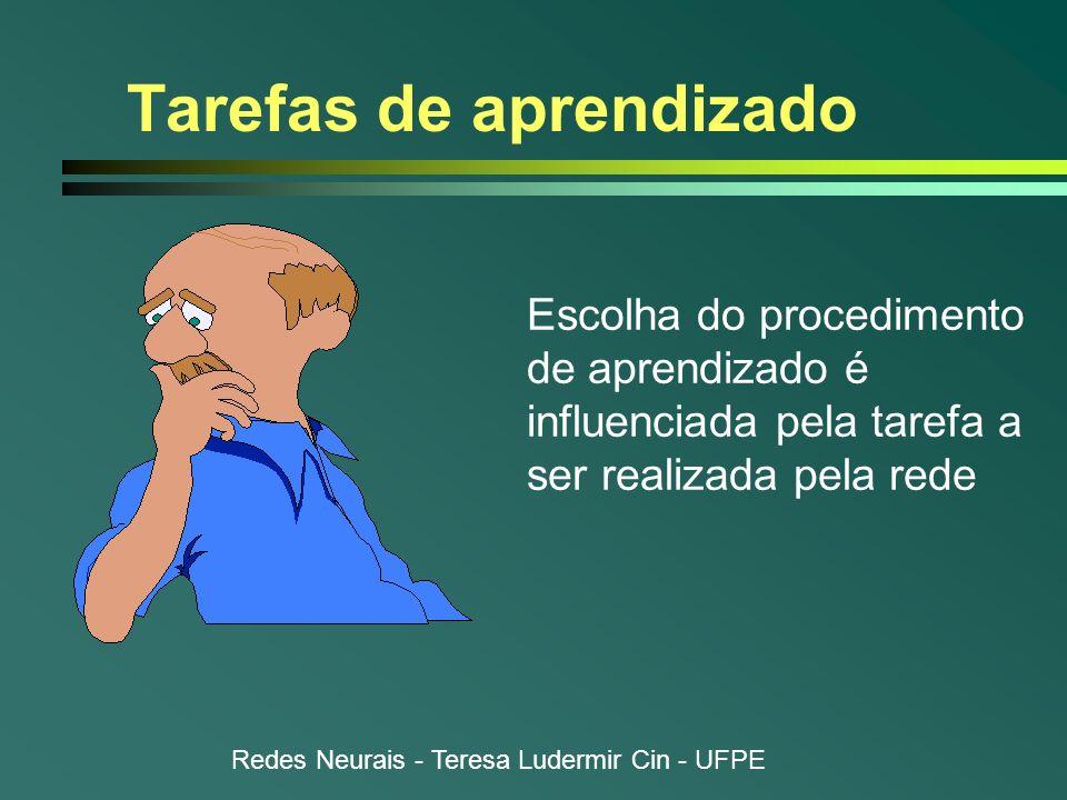 Redes Neurais - Teresa Ludermir Cin - UFPE Tarefas de aprendizado Escolha do procedimento de aprendizado é influenciada pela tarefa a ser realizada pe