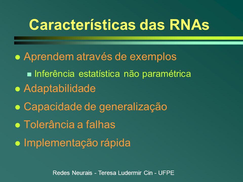 Redes Neurais - Teresa Ludermir Cin - UFPE Características das RNAs l Aprendem através de exemplos n Inferência estatística não paramétrica l Adaptabi