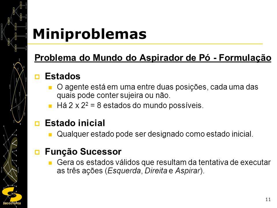 DSC/CCT/UFCG 11 Miniproblemas Problema do Mundo do Aspirador de Pó - Formulação Estados O agente está em uma entre duas posições, cada uma das quais p