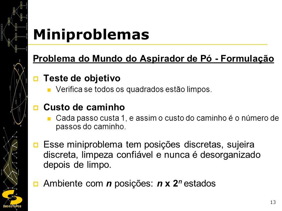 DSC/CCT/UFCG 13 Miniproblemas Problema do Mundo do Aspirador de Pó - Formulação Teste de objetivo Verifica se todos os quadrados estão limpos. Custo d