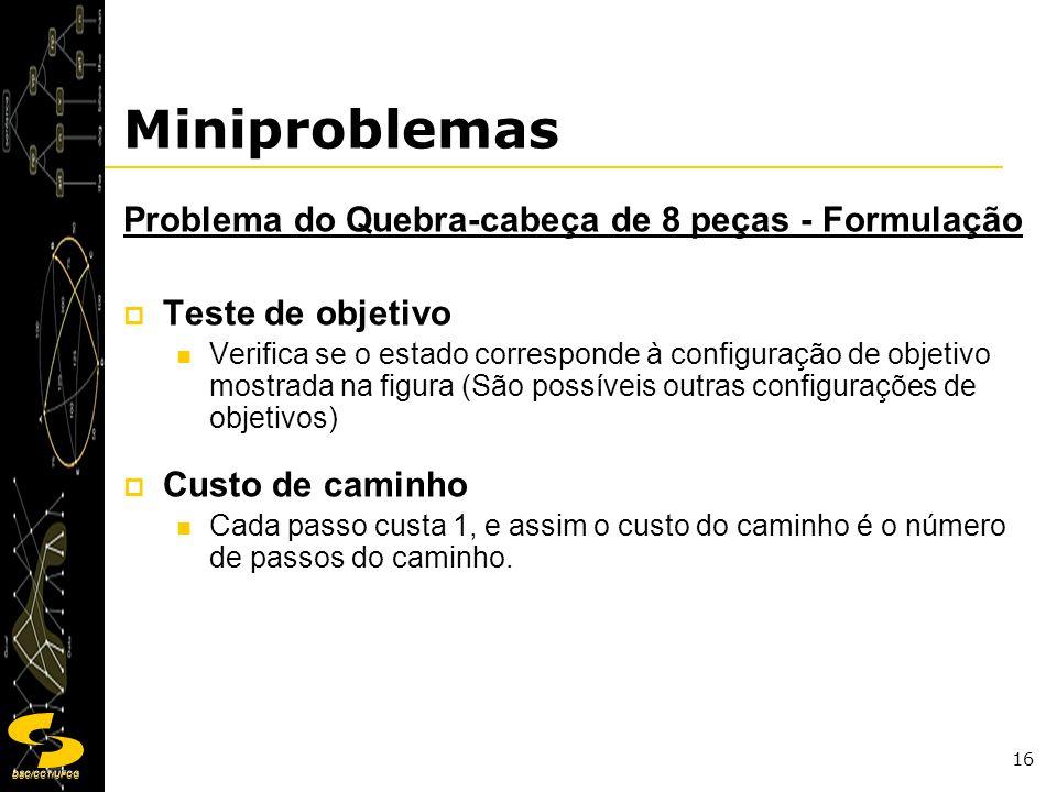 DSC/CCT/UFCG 16 Miniproblemas Problema do Quebra-cabeça de 8 peças - Formulação Teste de objetivo Verifica se o estado corresponde à configuração de o