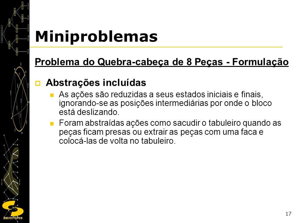 DSC/CCT/UFCG 17 Miniproblemas Problema do Quebra-cabeça de 8 Peças - Formulação Abstrações incluídas As ações são reduzidas a seus estados iniciais e