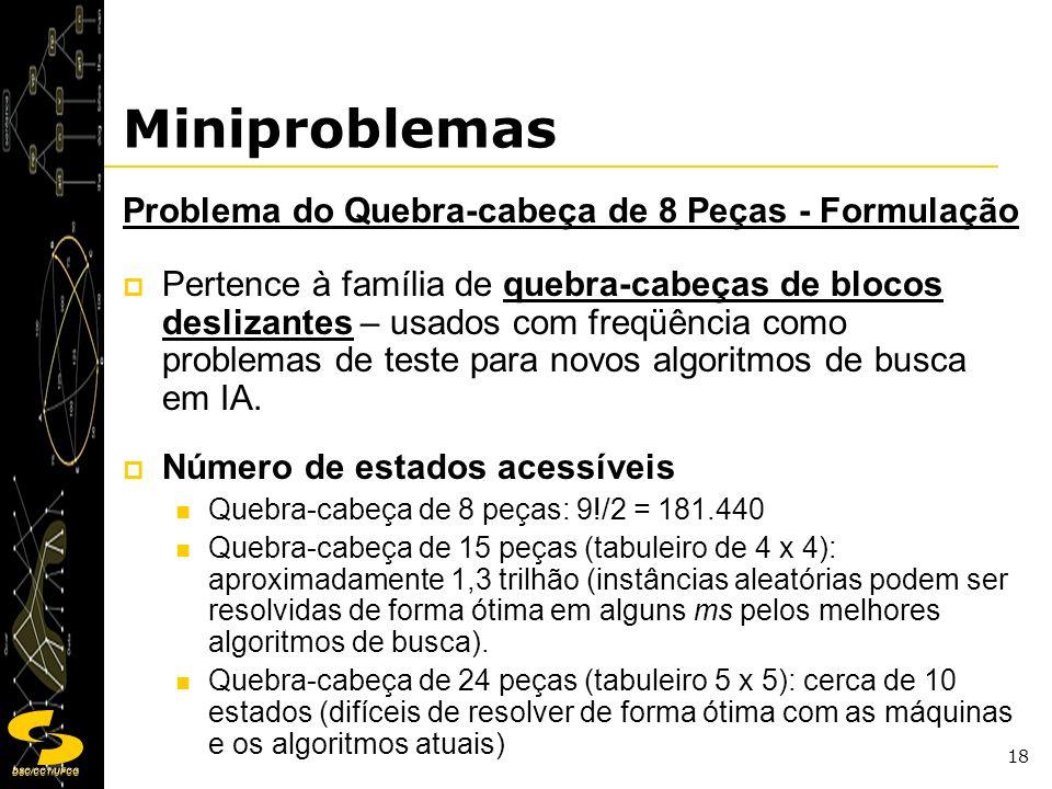 DSC/CCT/UFCG 18 Miniproblemas Problema do Quebra-cabeça de 8 Peças - Formulação Pertence à família de quebra-cabeças de blocos deslizantes – usados co