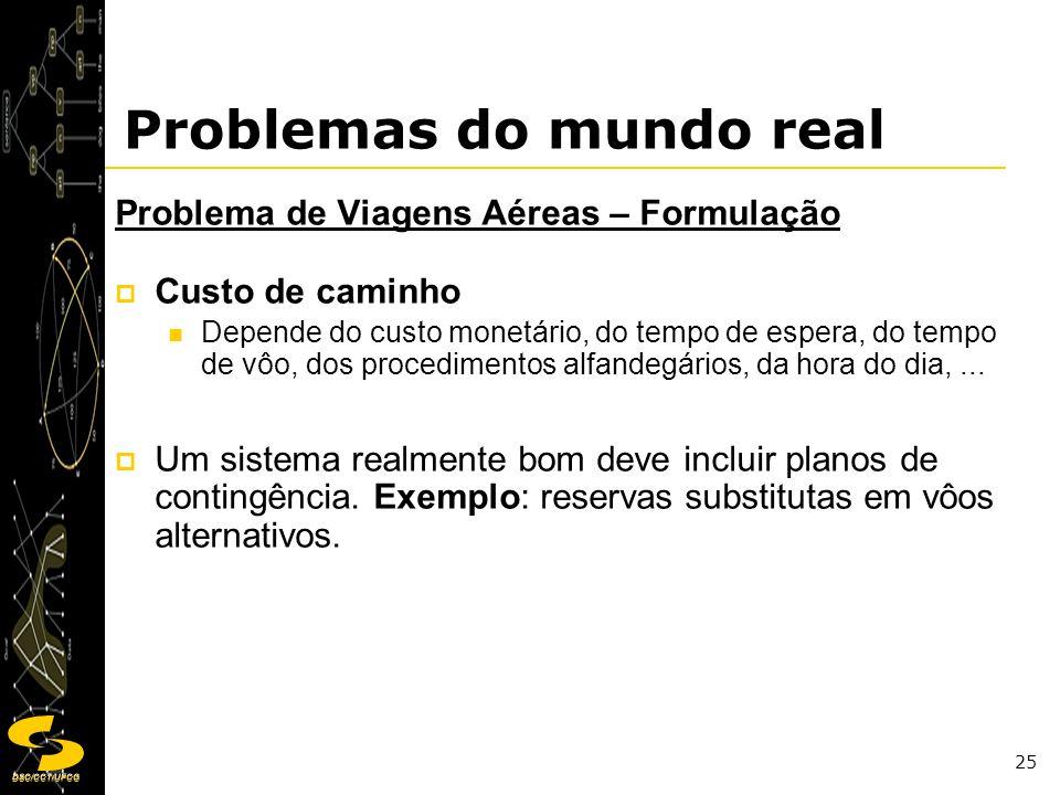 DSC/CCT/UFCG 25 Problemas do mundo real Problema de Viagens Aéreas – Formulação Custo de caminho Depende do custo monetário, do tempo de espera, do te