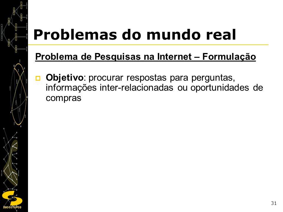 DSC/CCT/UFCG 31 Problemas do mundo real Problema de Pesquisas na Internet – Formulação Objetivo: procurar respostas para perguntas, informações inter-