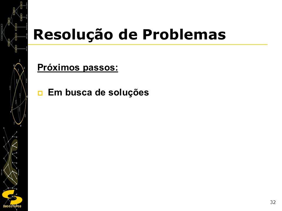 DSC/CCT/UFCG 32 Resolução de Problemas Próximos passos: Em busca de soluções