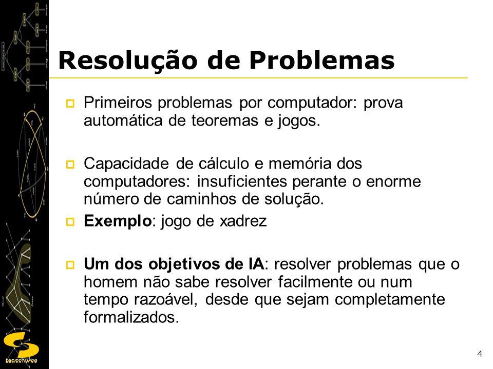 DSC/CCT/UFCG 4 Resolução de Problemas Primeiros problemas por computador: prova automática de teoremas e jogos. Capacidade de cálculo e memória dos co