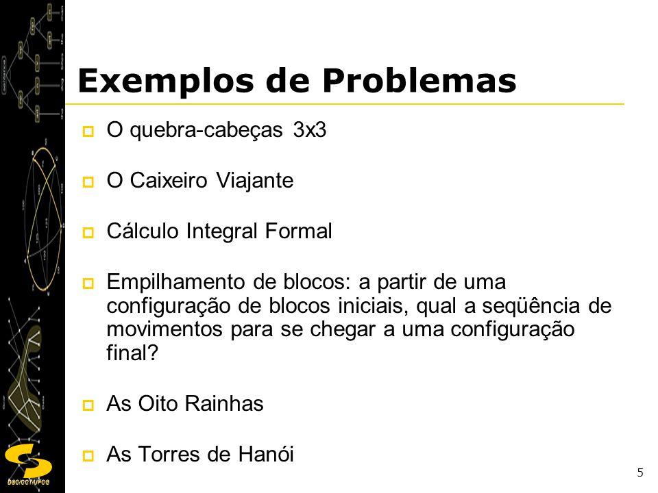 DSC/CCT/UFCG 5 Exemplos de Problemas O quebra-cabeças 3x3 O Caixeiro Viajante Cálculo Integral Formal Empilhamento de blocos: a partir de uma configur